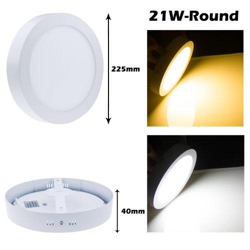 Lemonbest® Led Driver 18 Watt Round Led Ceiling Panel Light Surface Mounted Panel Light Ceiling Downlight Lamp Cool White(6000-6500K)