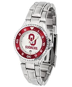 Oklahoma Sooners OU NCAA Ladies Competitor Steel Band Watch by SunTime