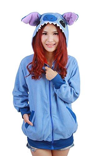 Datangep Cute Blue Stitch Hoodie Costume Zipper Hooded Coats for Women XL