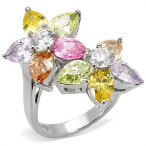 RIGHT HAND RING - Bypass Floral Ring with Pear and Round Shape CZ in High Polished Stainless Steel