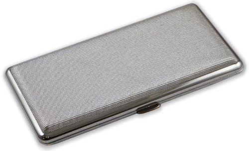 Contemporary Metallic Silver Cigarette Case (Fits Up To 120's) #37