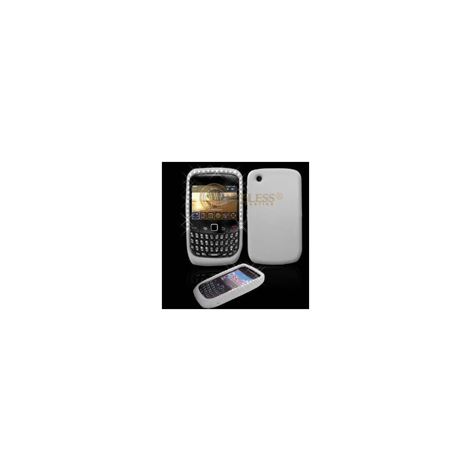 Clear with Diamond Rhinestone Soft Silicone Skin Gel Cover Case for Blackberry 8520