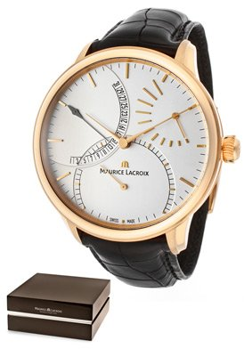 Men's Masterpiece Mechanical Silver (925) Dial 18k Rose Gold Case Black Genuine Crocodile