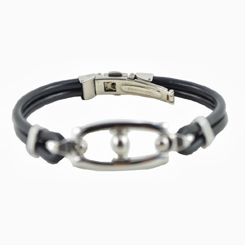 Alpha Man Faux Leather-Rope Chain Bracelet For Men (AM_SLBK_016)