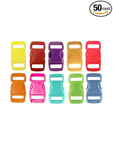 50 Buckles 3/8 Mix of 10 Colors (5 of each) Contoured Side Release