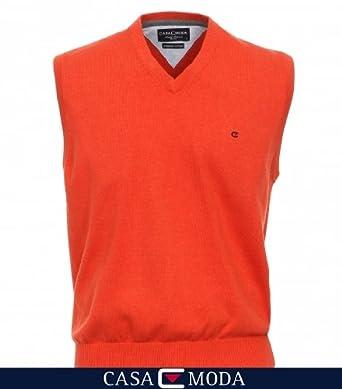 CASAMODA Strick Pullunder Orange V Neck 100% Baumwolle 5XL