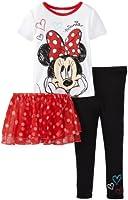 Disney Little Girls'  Day Dreaming Minnie Short Sleeve 3 Piece Pajama Set