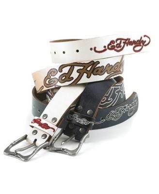 Ed Hardy Faded Bulldog Tattoo Belt Black Small