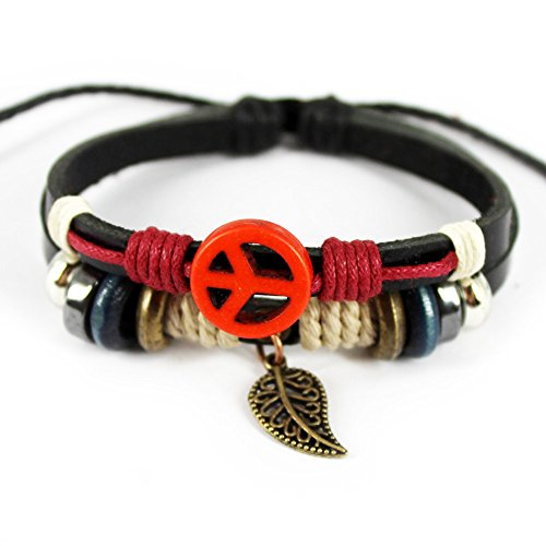 Real Spark Leather Friendship Gift Wristbang Leaf Pendant Beaded Ajustable Wrap Bracelet