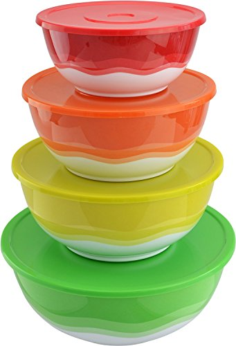 Surpahs Superior Nested Mixing Bowl Set of 4 Bowls w/ Color Matached Complementary Lids