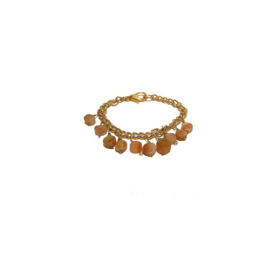 Calcite Bracelet 08 Chain Crystal Healing Orange Gold Crystal Healing Charm Gemstone