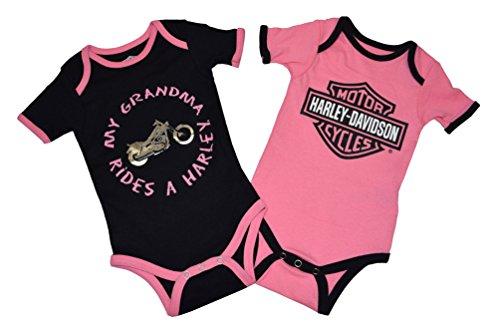 Harley-Davidson Baby Girls 'GRANDMA Rides' 2-Pack Pink Onesie (3-6 Months)