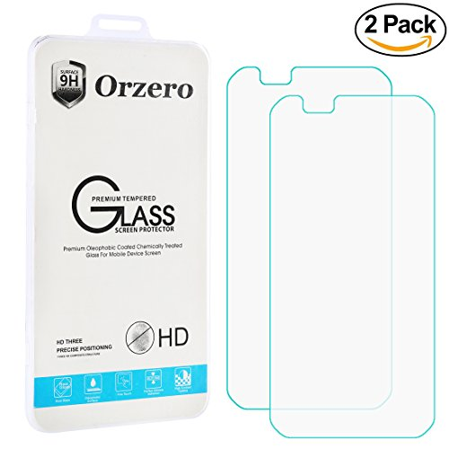[2 pack] LG K10 & Premier LTE Screen Protector Orzero [ 2.5D 0.26MM 9 Hardness ] Ballistic Glass Tempered Glass Screen Protector for LG K10