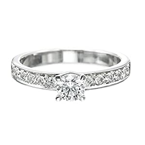 IGI Certified 14k white-gold Round Cut Diamond Engagement Ring (0.70 cttw, F Color, SI1 Clarity)
