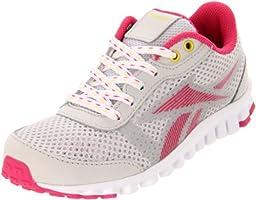 Reebok Realflex Optimal Running Shoe (Little Kid/Big Kid),Salty Grey/Cosmic Berry/White/Sun Rock,5 M US Big Kid