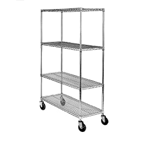 "SPG MA Steel Wire Service Cart with Poly Caster, 4 Shelves, Zinc Coated, 800 lbs Load Capacity, 70"" Height, 36"" Length x 18"" Width"
