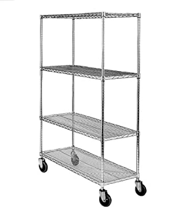 "SPG MA Steel Wire Service Cart with Poly Caster, 4 Shelves, Zinc Coated, 800 lbs Load Capacity, 70"" Height"
