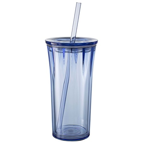 Zak! Designs Clarion Insulated Tumbler in Periwinkle-Clear with Press-in Lid and Straw, Double Wall Insulation, BPA-free Tritan Plastic, 20 oz. Capacity (Straw Insulation Cup compare prices)