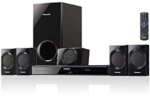 Panasonic 1000 Watts 5.1 Channel Virtual Surround Effect DVD Home Theater 3D Cinema Surround Sound Entertainment System with 1 Center Channel Speaker, 4 Satellite Speakers, Subwoofer, DVD Player, Remote Control, Dolby Digital Decoder, HDMI with Audio Return Channel, VIERA Link, Optical Input, Digital Synthesizer Tuner, 30 FM Radio Station Presets & Front Panel USB Music Port to Connect & Play Your iPod & iPhone