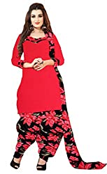 Fashions World Red Crepe Dress Material