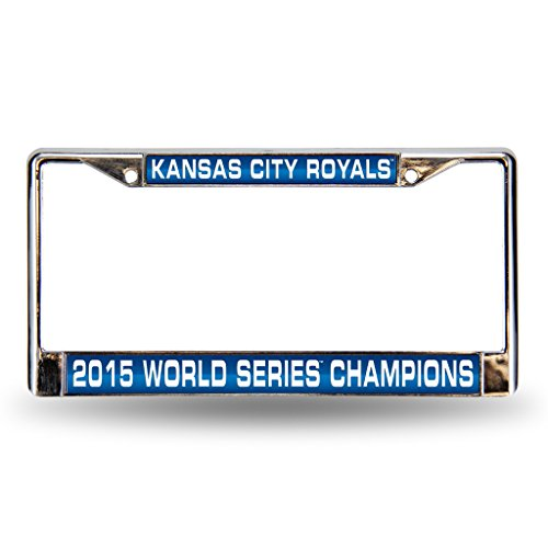 Kansas City Royals Official MLB 12 inch x 6 inch 2015 World Series Champions Laser Chrome License Plate Frame by Rico Industries 890544