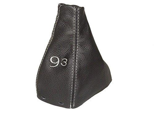 pour-saab-9-3-93-ss-2003-manuel-guetre-gear-shift-de-coffre-noir-en-cuir-italien-avec-gris-93-broder