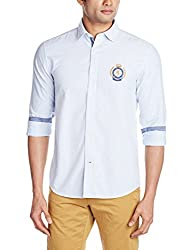 Proline Men's Casual Shirt (8907007298213_PV10602_Small_Mid Blue)