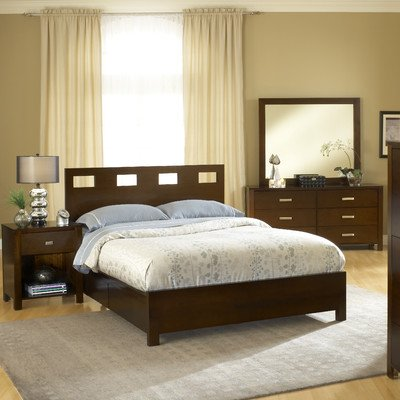 Modus Furniture International Riva Platform Storage Bed, King, Chocolate Brown front-439538