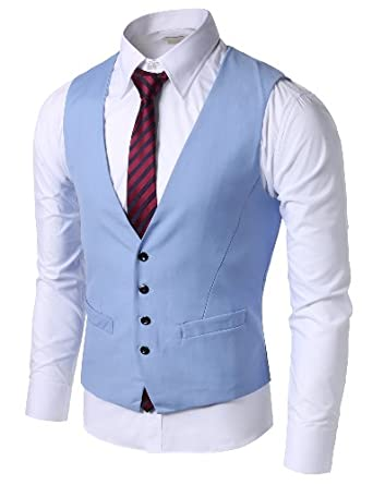 Doublju Mens 4 button Slim Vest  SKY (US-L)