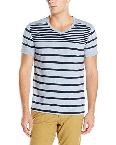 Nautica Men's V-Neck Short Sleeve Stripe Shirt