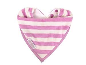 Silly Billyz 17556 - Babero para época de dentición (algodón ecológico, 0 a 24 meses), diseño de rayas, color rosa y beige