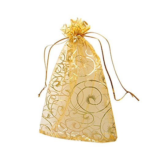 Baloray 100pcs Champagne Eyelash Organza Drawstring Pouches Jewelry Party Wedding Favor Gift Bags 3.5