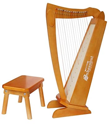 Schoenhut 15 String Harp with Bench (Cherry)