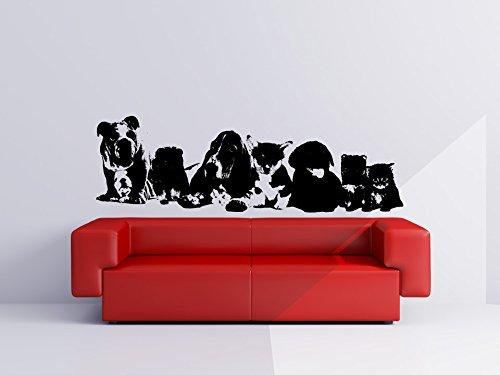 Les-chiens-et-chiots-et-chatons-Sticker-mural-vinyle-Silhouette