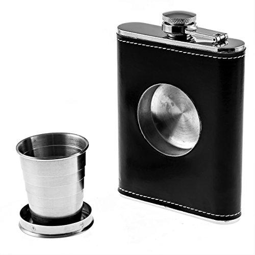Cuisine Prefere Groomsmen Flask with Shot Glass Wrapped in Black Faux Leather