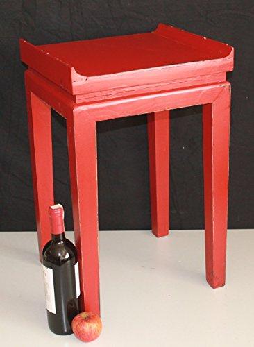 Holz-Tisch-Asia-Art-Beistelltisch-rot-Antik-Look-Nr-03