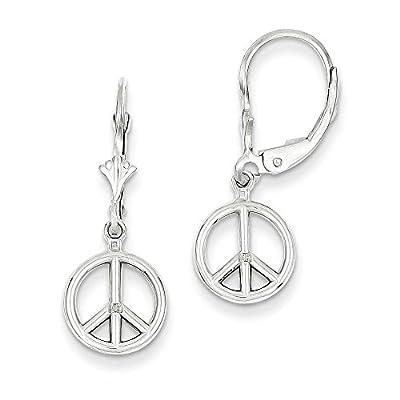 14K White Gold Peace Symbol Leverback Earrings