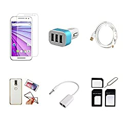 High Quality Combo of Moto G3 Temper Glass + Car Charger 3 USB + Fast Charging Cable + Attractive Back Cover (Transparent Back with Golden Border) + Audio Splitter Cable