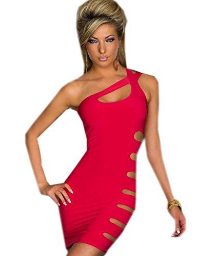 KK-Go Frauen-Pakethuftekleid Flirty Strings ein Schulter Clubwear Romper Disco Gogo