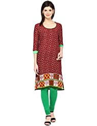 AngelFab Maroon Color Cotton Fabric Women's Straight Kurti