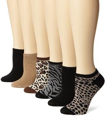 K. Bell Socks Women's 6 Pack Heather Animal Socks, Cocoa Heather, 9-11
