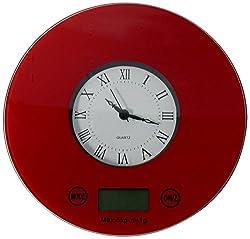 IFRESH Digital Kitchen Scale with Quartz Clock, Red