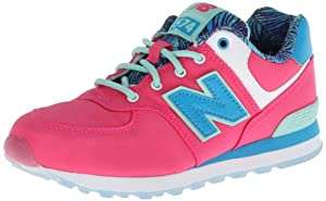 New Balance KL574 Pre Running Shoe (Little Kid),Pink/Blue,11 W US Little Kid