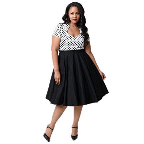 MissNina Women's Plus Size 50s Vintage Classic Rockabilly Swing Dress (3XL, Black)