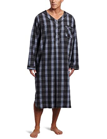 Majestic International Men's Weather Wise Flannel Night Shirt, Steel Wool, Small/Medium