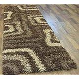 Brown Beige Thick Shaggy Modern Hall Carpet Floor Runner Rug