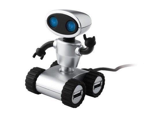 StealStreet Light Up Blue Eyed Robot Design Four Port USB 2.0 Hub, 3.25