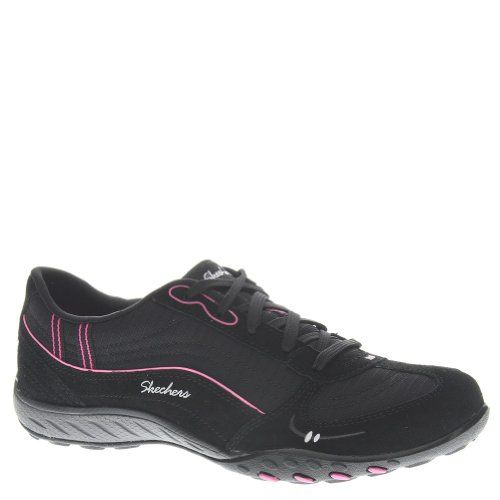 Skechers Sport Women's Just Relax Fashion Sneaker, Black Suede/Mesh/Hot Pink, 6 M US