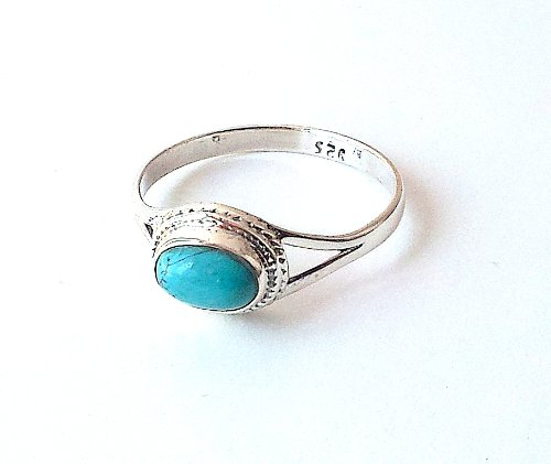 Shanya Sterling Silver Ethnic Handcrafted Ring Turquoise Howlite