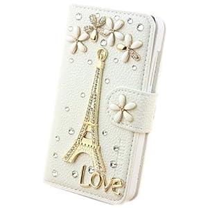 1X Blumen Series 3D Glitzer Strass Diamant Blume Eiffelturm LOVE Leder Tasche Flip Hülle für Samsung i8190 Galaxy S3 Mini mit Kreditkarte Wallet Loch Handmade Book Brieftasche Bling - Weiß